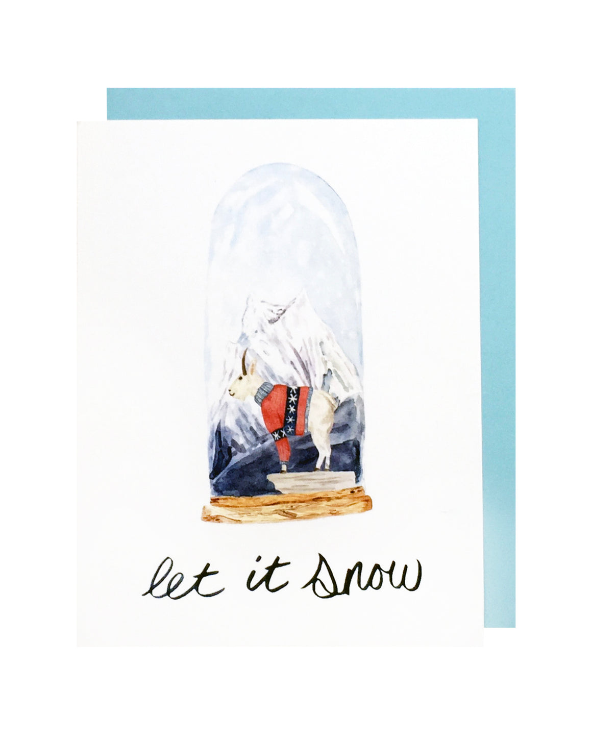 Mountain Goat Snow Globe Card