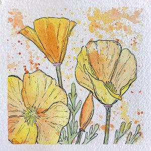 California Poppy Mini Original Painting