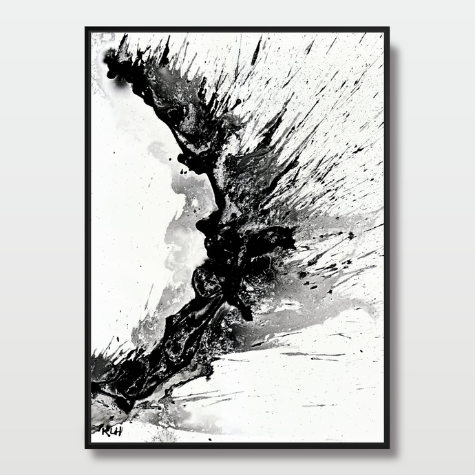 Splash in Black and White - Paintings - Roumies Affordable Art - www.Roumies.com