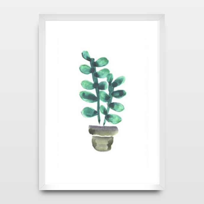Cactus Leafy Pot in Watercolor - Prints - Roumies Affordable Art - www.Roumies.com