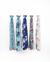 Load image into Gallery viewer, Leafy Blues Chiffon Scarf