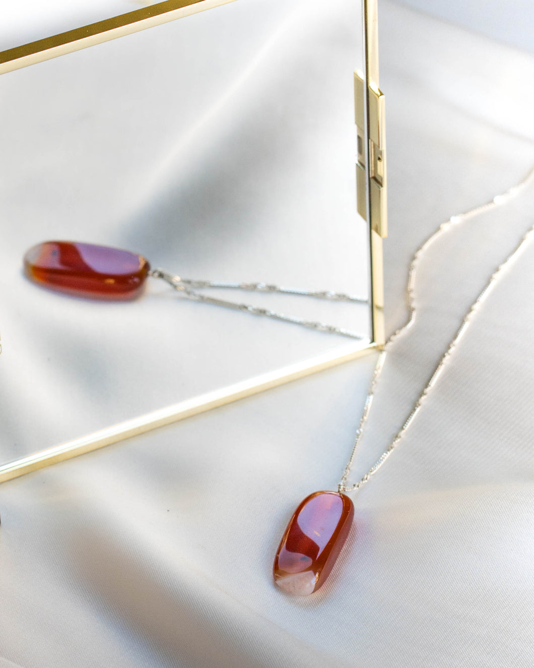 Sterling Silver Crimson Jasper Necklace