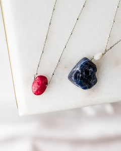 Sterling Silver Dark Gemstone Necklace