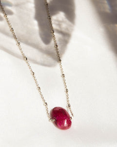 Sterling Silver Magenta Gemstone Necklace