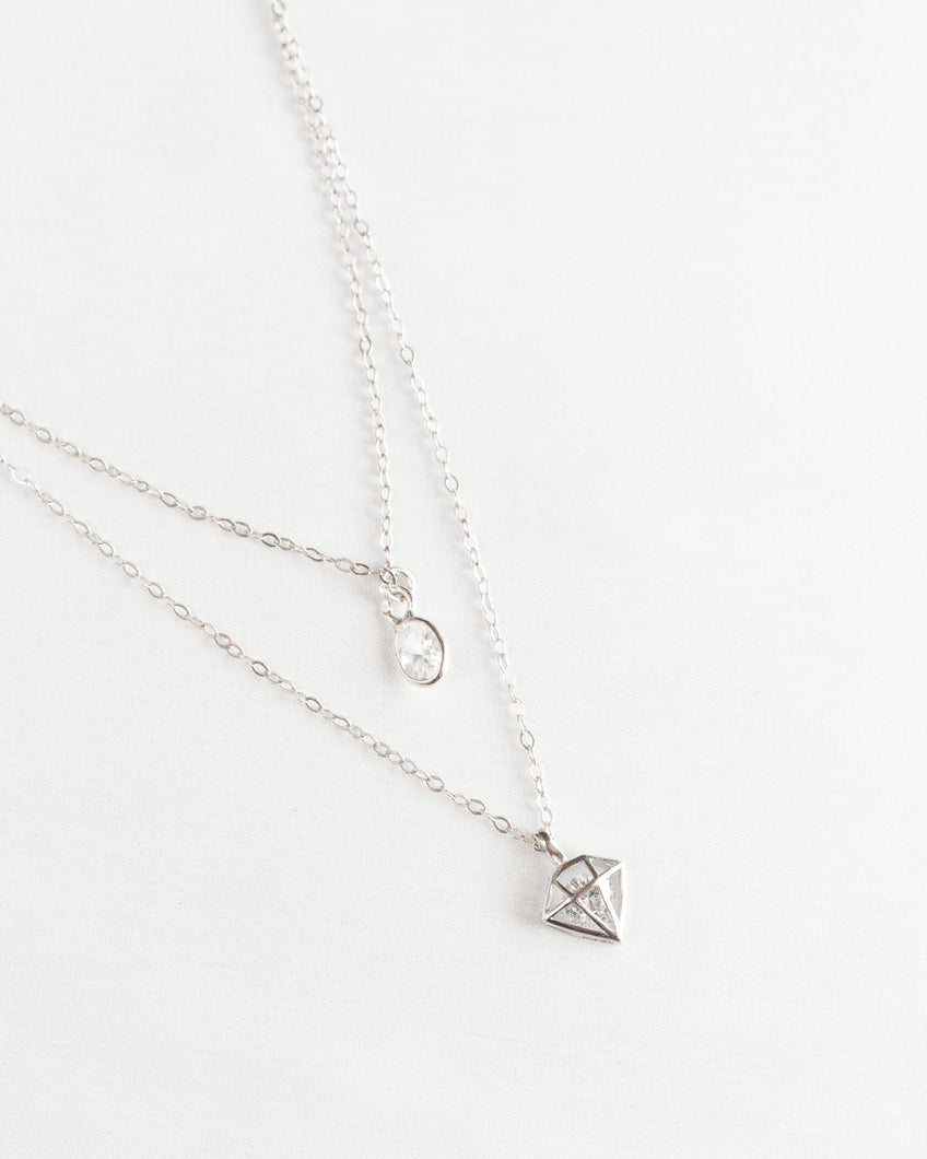 Sterling Silver Diamond Crystal Necklace