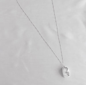 Sterling Silver White Marble Necklace