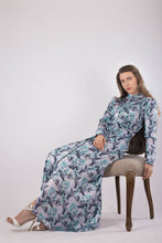 Load image into Gallery viewer, Olive Floral Silk Dress