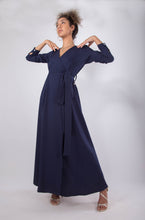 Load image into Gallery viewer, Navy Blue Wrap Dress