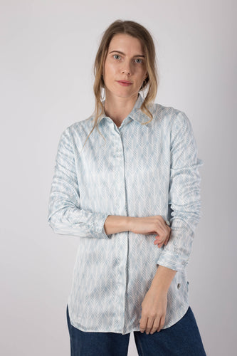 Blue Geometric Silk Shirt