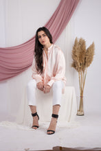 Load image into Gallery viewer, Peach Frill Satin Shirt