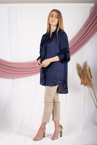 Navy-blue Frill Satin Shirt