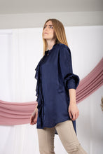 Load image into Gallery viewer, Navy-blue Frill Satin Shirt