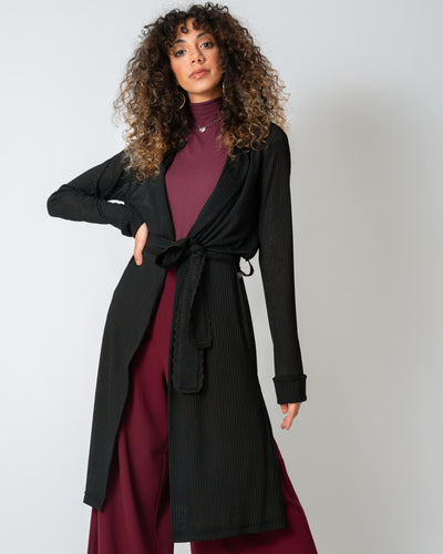 Black Belted Wrap-Around