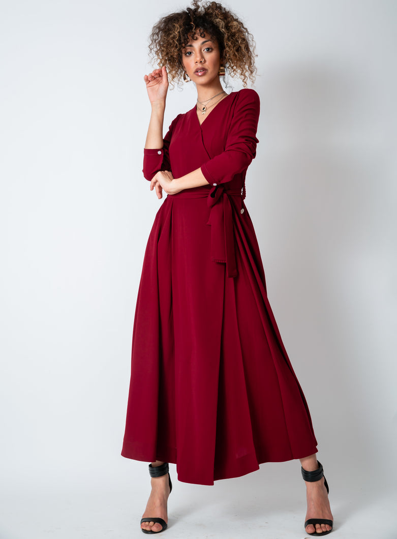 Dark Crimson Red Wrap Dress