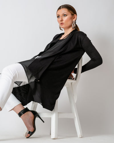 Black Chiffon-Cotton Cardigan