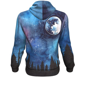 Hooded Sweatshirt - Painted Night Sky Long Sleeve Hoody For Men and Women - Wild Lifestyle Adventures