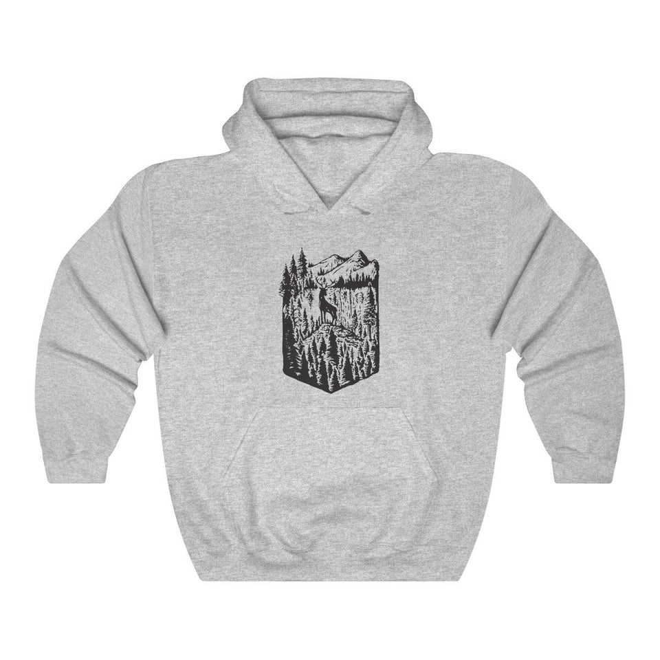Hoodie - Forest Elk And Mountain Nature Long Sleeve Hoody For Men and Women - Wild Lifestyle Adventures