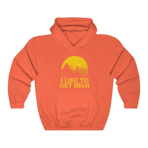 Hoodie - I Like To Get High Mountain Long Sleeve Hoody For Men and Women - Wild Lifestyle Adventures