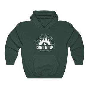 Hoodie - Camp More Worry Less Long Sleeve Hoody For Men and Women - Wild Lifestyle Adventures