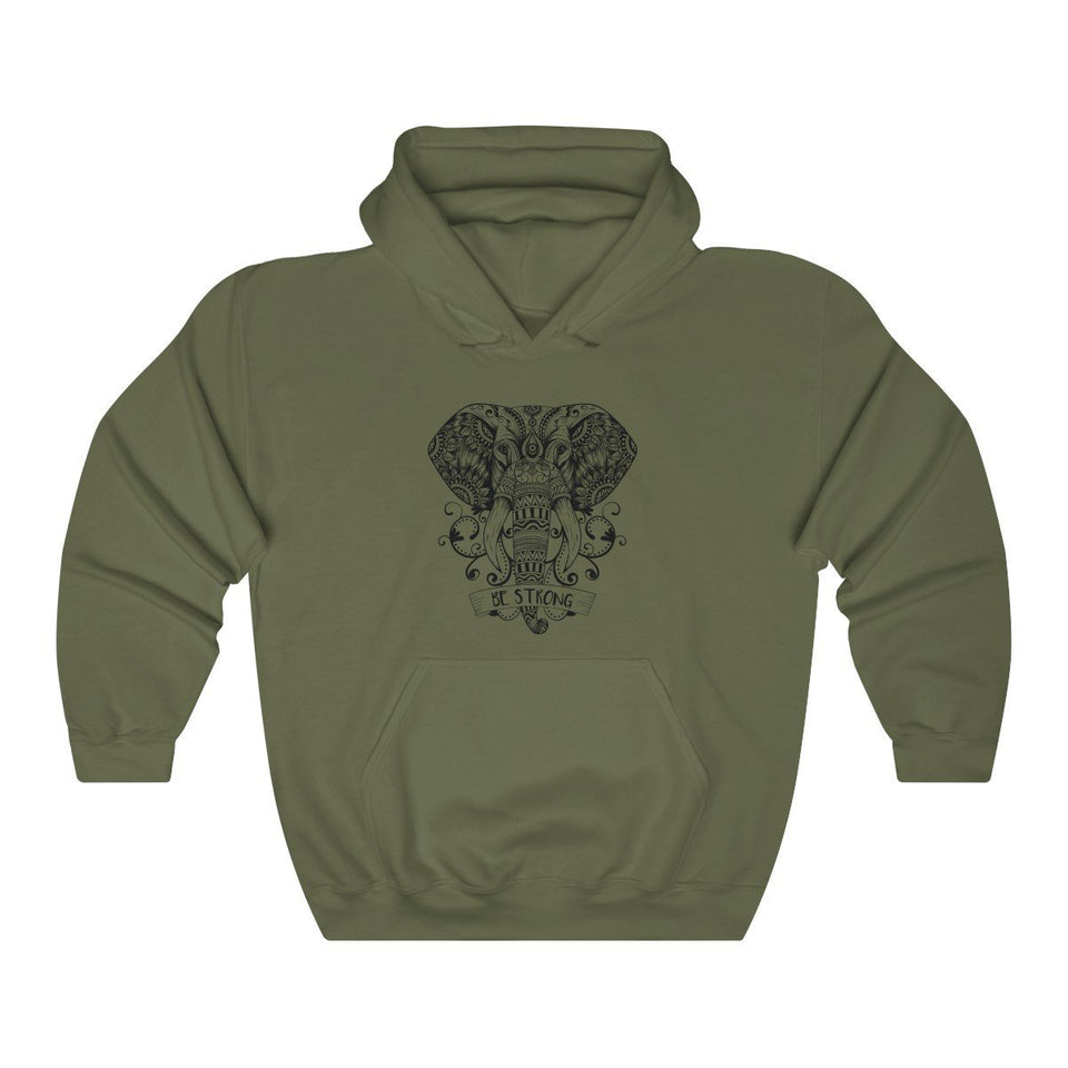 Hoodie - Be Strong Elephant Long Sleeve Hoody For Men and Women - Wild Lifestyle Adventures
