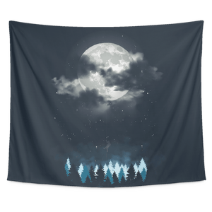Moon Night Landscape Tapestry Wall Hanging - Wild Lifestyle Adventures