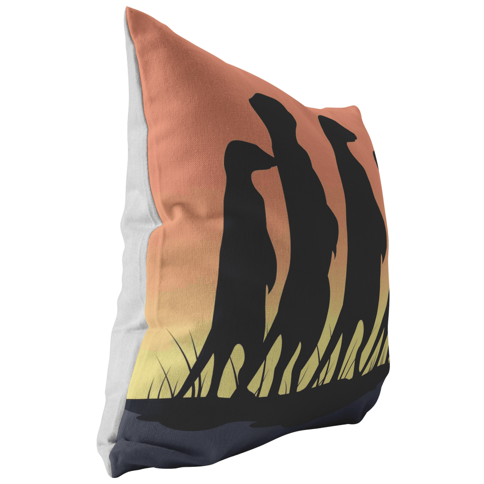 Meerkat Family Siluett Throw Pillow - Wild Lifestyle Adventures