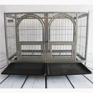 Dog crate with double door and divider in silver