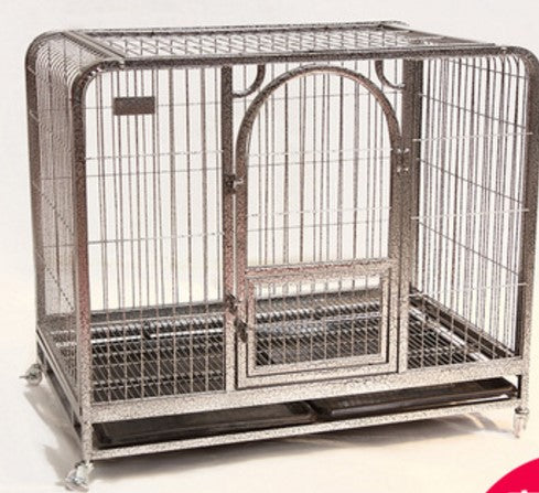 Dog crate with one door in stainless steel silver