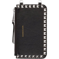 BANDOLIER Pebble Leather Pyramid Stud Zip Pouch Black//Gold