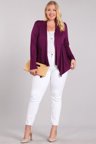 Draped Front Basic Plus Cardigan