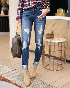 Nikki Button Fly Distressed Cuffed Jeggings