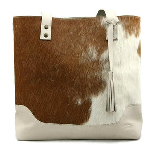 Cowgirl Cowhide Tote - Rust & White