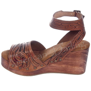 Hand Tooled Leather Strappy Wedge