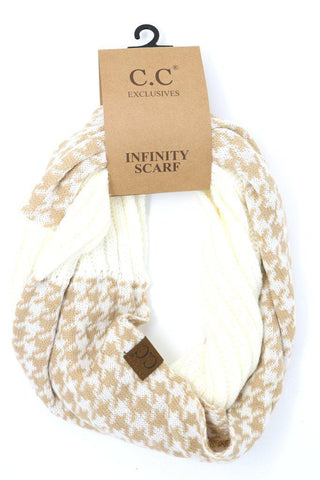 Houndstooth CC Infinity Scarf - Ivory/Beige