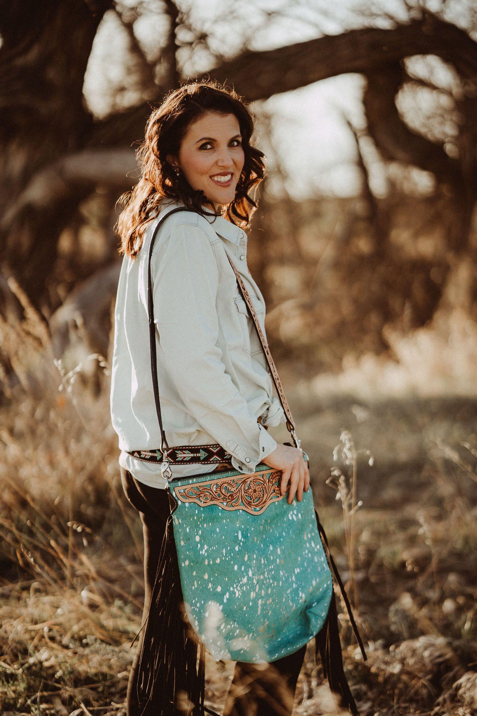 Large Hair on Hide Turquoise Crossbody Handbag with Fringe