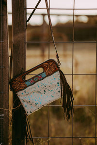 Turquoise Cowhide Clutch with Fringe
