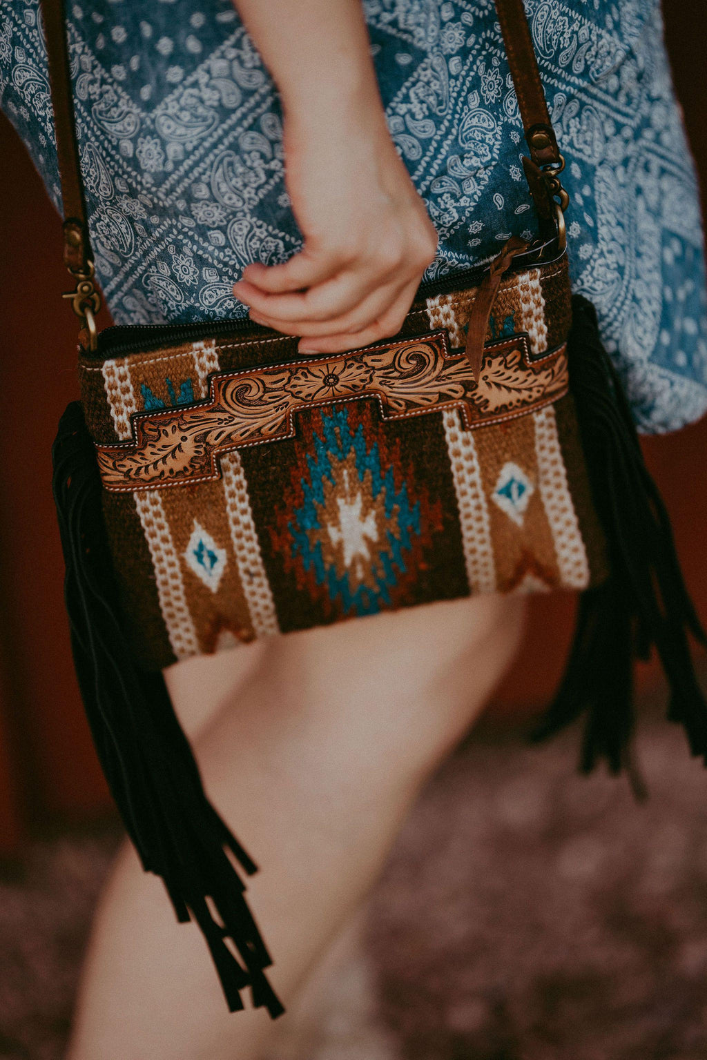 Brown Saddle Blanket Crossbody with Fringe
