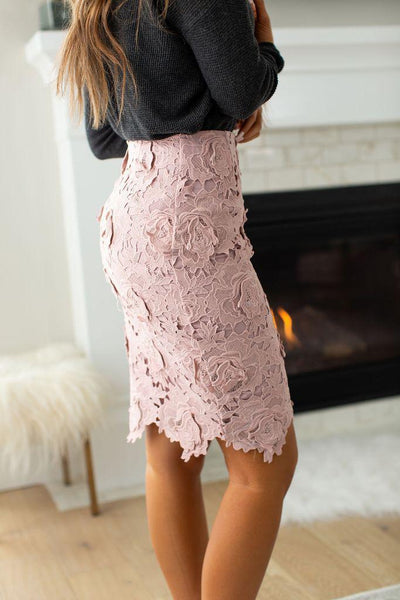 Ampersand Ave Lace Skirt - Blush