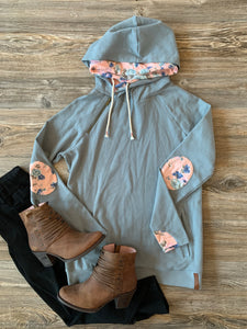 Ampersand Ave Doublehood Sweatshirt - Floral Elbow Patch