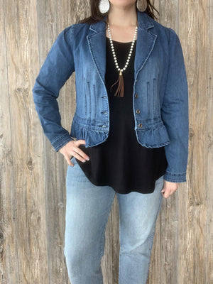 Petunias and Peplum Denim Jacket
