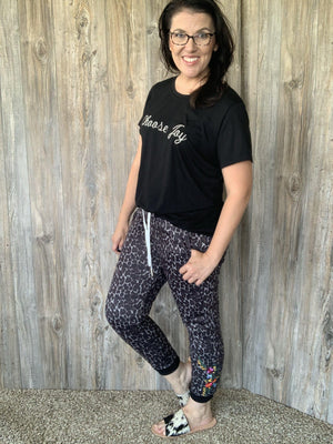 Embroidered Leopard Joggers