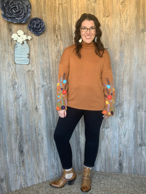Rust Turtle Neck Sweater with Embroidery