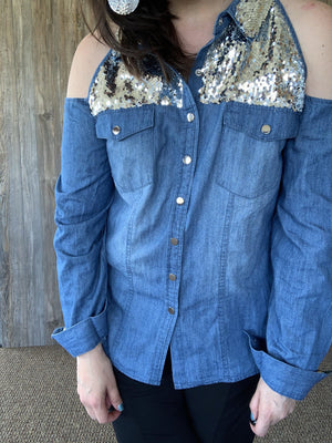 Denim Cold Shoulder Top with Sequins