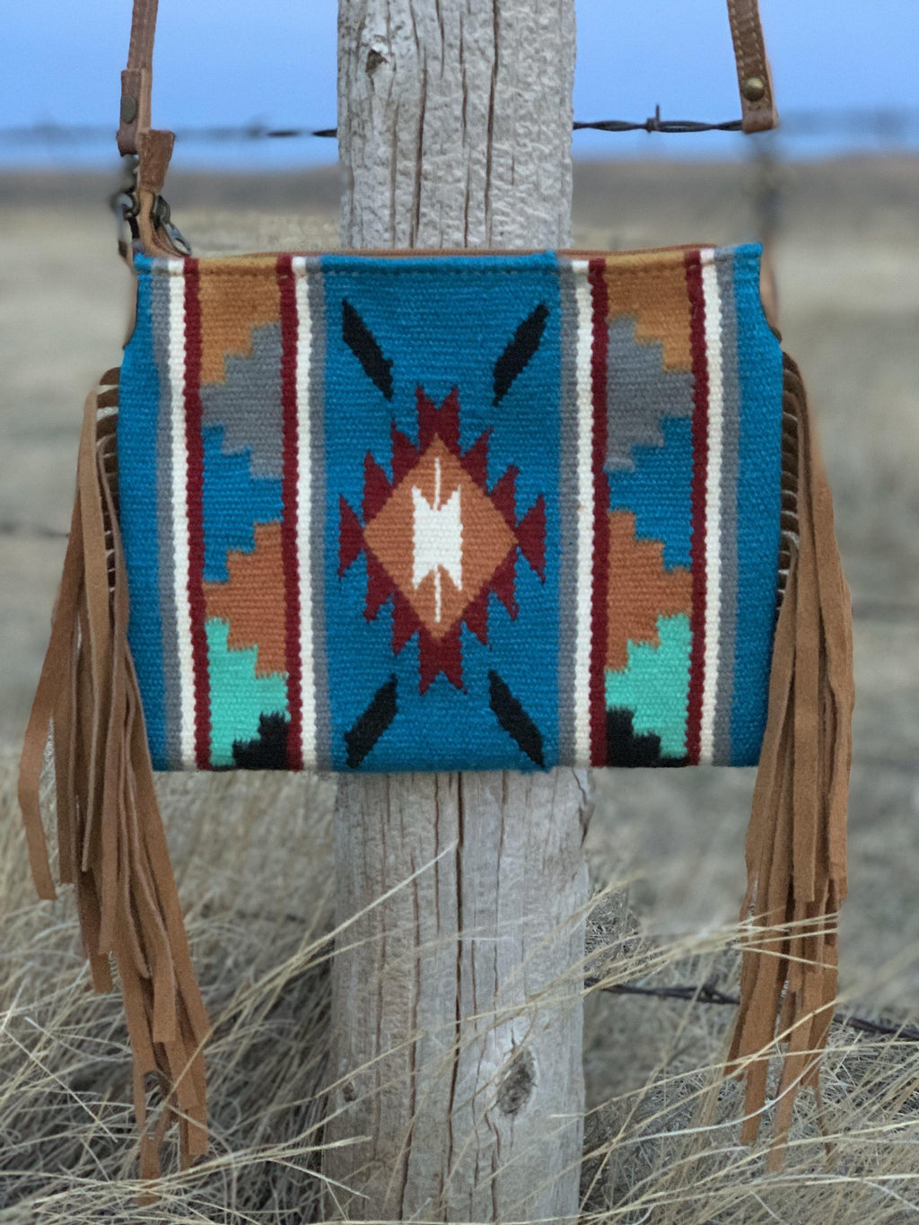 The Fringed Desperado Crossbody-Teal