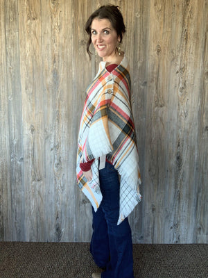 Nostalgic Memories Reversible Button Scarf/Poncho