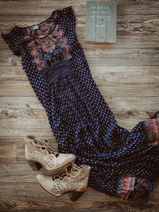Navy Maxi Dress with Multi Color Accents