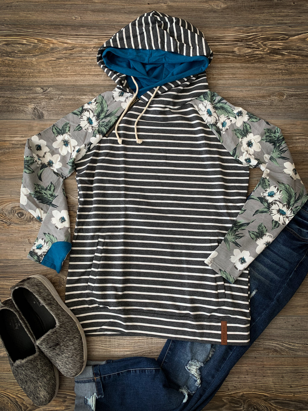 Ampersand Avenue Charcoal Striped Doublehood Sweatshirt