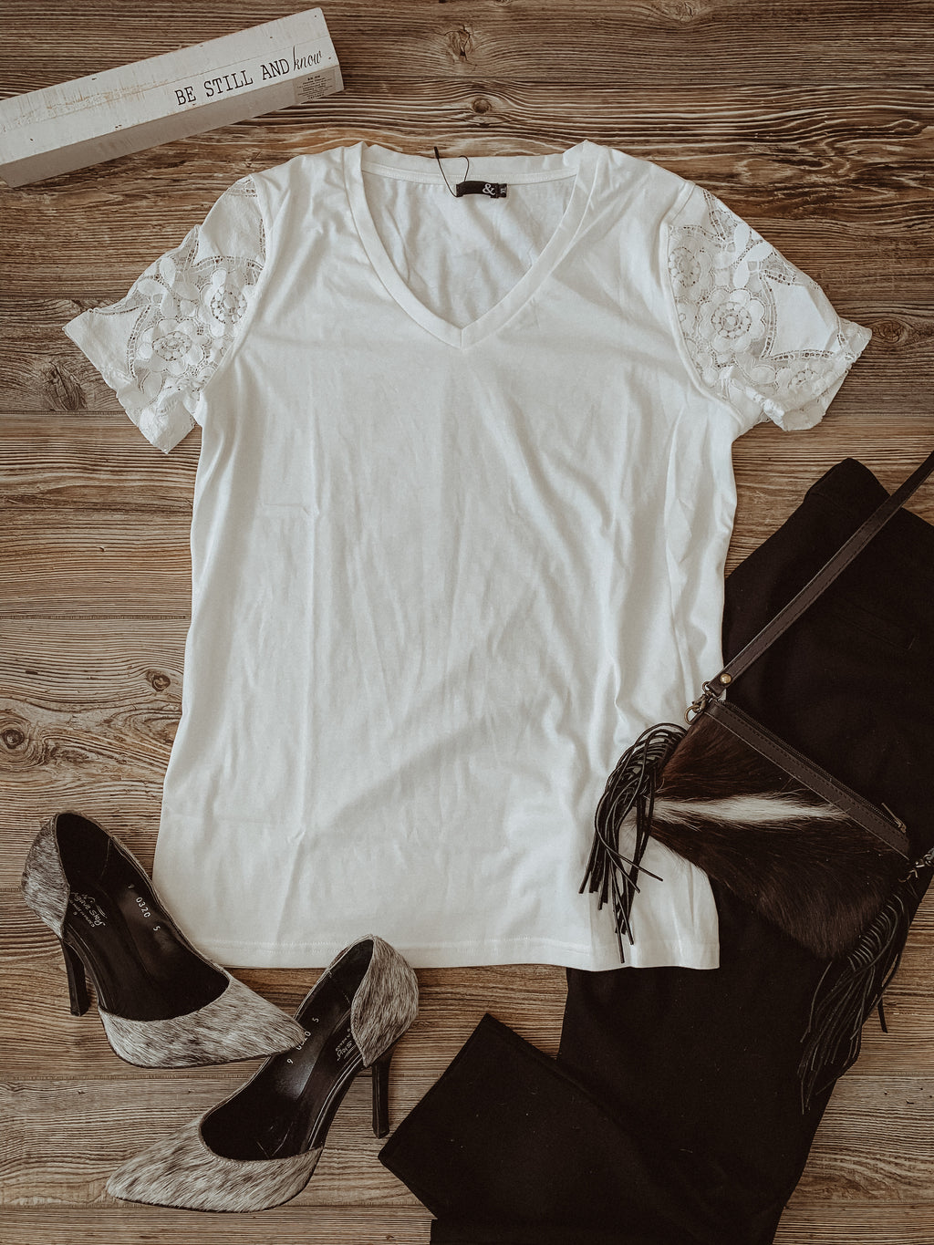 Ampersand Avenue White Tee with Lace Sleeves