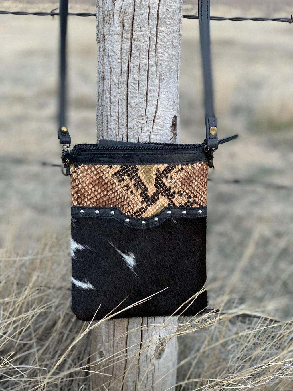 Shebang Snakeskin and Hide Crossbody