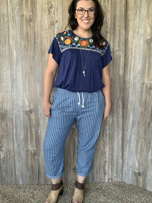 Multi-Colored Embroidered Navy Top